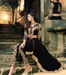 Buy Black Embroidered Georgette semi_stitched salwar with dupatta anarkali-salwar-kameez online