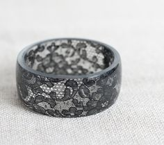 Black Lace Resin Bangle Bracelet Vintage French Lace Wide Cuff