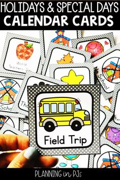 Cute cards to add to your classroom calendar - holidays and special days to celebrate! Kindergarten Calendar, Preschool Calendar, Calendar Activities, Classroom Calendar, Kindergarten Teachers, Classroom Decor, Special Day Calendar, Holiday Calendar, Event Calendar
