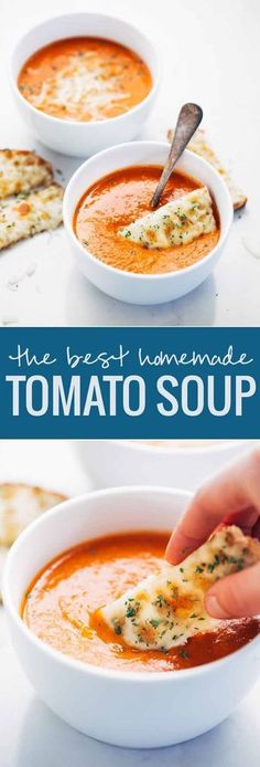 Simple Homemade Tomato Soup - just a handful of pantry ingredients and 20 minutes hands-on time is all it takes to make this INCREDIBLE homemade tomato soup! soup Simple Homemade Tomato Soup - Pinch of Yum Healthy Diet Recipes, Healthy Soup, Cooking Recipes, Simple Recipes, Cooking Games, Cooking Tips, Cooking Pasta, Cooking Bacon, Diabetic Recipes