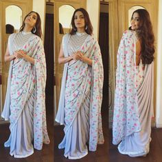 Innovative and Modern saree draping styles / saree wear styles to look stylish & slim. Latest different ways to wearing saree to look beautiful in Party. Sari Draping Styles, Saree Styles, Indian Dresses, Indian Outfits, Sonam Kapoor Saree, Sonam Kapoor Wedding, Sabyasachi, Sari Bluse, Indische Sarees
