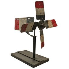 Folk Art Patriotic License Plate Whirligig   From a unique collection of antique and modern weathervanes at https://www.1stdibs.com/furniture/folk-art/weathervanes/
