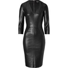 Miley Cyrus' Jitrois tight black leather dress - My Fashion Wants ❤ liked on Polyvore featuring dresses, leather dress, jitrois, black dress, black day dress and kohl dresses