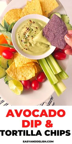 AVOCADO DIP with Tortilla Chips for a quick keto snack or appetizer. Get the recipe now! Appetizer Ideas, Easy Appetizer Recipes, Healthy Appetizers, Party Dip Recipes, Party Dips, Snack Recipes, Healthy Fruit Snacks, Savory Snacks, Avocado Dip