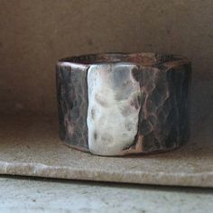 Mens ring of rustic copper and sterling by tinahdee on Etsy