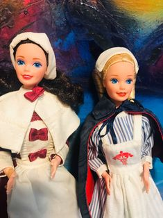 Early America Barbie Dolls w/nurse Barbie Mattel Collectors Dolls Nurse Barbie, Barbie Dolls, Collector Dolls, Fashion Dolls, Snow White, Birds, America, Disney Princess, Disney Characters