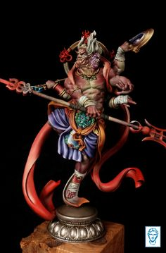 I am happy to show the boxart for our April release- the Indian mythological semi-god Asura. Painted in oils trying to keep the traditional indian look. Indian Look, Cosplay, Mythological Creatures, Hanuman, Sculpture Clay, Chest Tattoo, Deities, Character Concept, Mythology