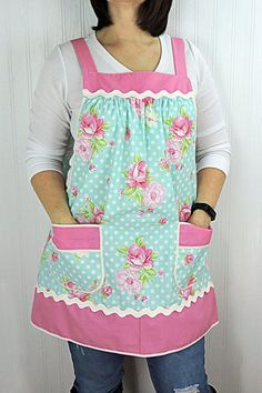 Pink Roses on Aqua Dot Pinafore Apron with no ties, relaxed fit smock apron with pockets, made-to-order XS - Plus Size Apron Patterns, Sewing Patterns, Pinafore Apron, Jolie Lingerie, Sewing Aprons, Cross Stitch Heart, Apron Pockets, Aprons Vintage, Warm Outfits