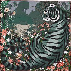"36"" x 36"" scarf Hermès | Tyger Tyger by Alice Shirley AW 2015 CW 13 khaki claire/gris/rose"
