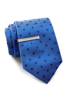 Bluebell Dot Silk Tie & Tie Bar Set