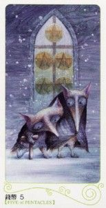 Five of Pentacles from the Tarot of the Magical Forest
