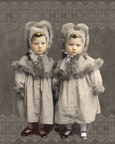 Vintage hand-tinted photo of twins girls in matching coats. Vintage Children Photos, Vintage Photos Women, Antique Photos, Vintage Pictures, Vintage Photographs, Vintage Images, Old Photos, Girl Photos, Vintage Twins