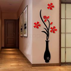 Wall Sticker Decals,Outgeek Removable Flowering Plant Wall Stickers Art Wall Decor for Living Room Bedroom Bathroom Restaurant Girls Kids Simple Wall Paintings, Wall Painting Decor, Home Decor Wall Art, Living Room Decor, Diy Home Decor, Dining Room, Decoration Stickers, Diy Wall Stickers, Wall Decals