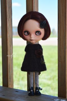 Knitting/Sweater Dress  Dark Chocolate with unique by moofafa