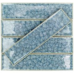 Ivy Hill Tile Roman Selection Iced Blue 2 in. x 8 in. x 9 mm Glass Floor and Wall Tile, Light Blue Shower Backsplash, Splashback Tiles, Mosaic Wall Tiles, Mosaic Glass, Blue Tile Backsplash Kitchen, Blue Glass Tile, Glass Tiles, Shower Tiles, Glass Ceramic