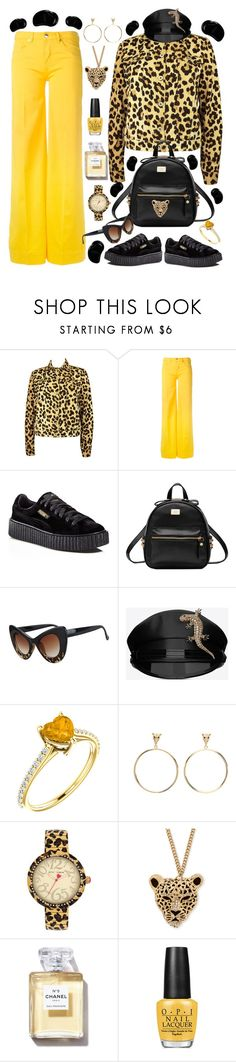 """Untitled #681"" by alex-vujanovic ❤ liked on Polyvore featuring Moschino, Love Moschino, Puma, Yves Saint Laurent, Betsey Johnson, OPI and Tangle Teezer"