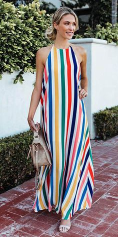 Season : Summer Pattern : Striped Color : Red,Yellow Occasion : Beach,Daily Casual,Holiday The post Women Halter Striped Holiday Beach Long Maxi Dress appeared first on TD Mercado. Maxi Outfits, Summer Outfits, Fashion Outfits, Summer Dresses, Dress Fashion, Summer Maxi, Cheap Fashion, Fashion Styles, Fashion Clothes