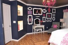 Love this color scheme..now where will the husband let me do this.? Upstairs bath? Spare room? His man cave? Could tone it down and do navy and coral in dining room?