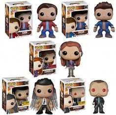 Set of 5 FUNKO Supernatural POP! Television SAM, DEAN, CHARLIE, CROWLEY, & CASTIEL W/ WINGS Figures