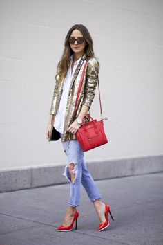 OBSESSED with this gold sequin blazer + red mini Celine
