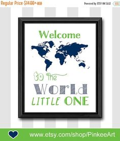 Items similar to world map theme baby wall art travel theme nursery decor welcome to the world baby decor navy blue nursery print baby boy gift boy room art on Etsy Baby Wall Decor, Baby Wall Art, Baby Nursery Decor, Nursery Themes, Nursery Art, Nursery Modern, Nursery Ideas, Room Ideas, Baby Boys