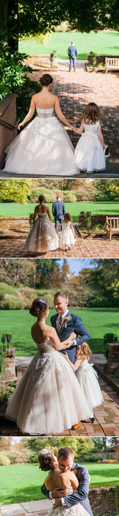 "This sweet ""first look"" included the bride's young daughter. 