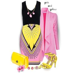 Pink and Yellow by lorrainekeenan on Polyvore featuring polyvore, fashion, style, Sans Souci, Versace, Michael Antonio, Dsquared2, Devon Leigh and clothing