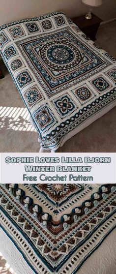Sophie Loves Lilla Bjorn Winter Blanket [Free Crochet Pattern] (Your Crochet) The Sophie Loves Lilla Bjorn Winter Blanket pattern was created by Emma Aldous. I love this particular color combination, but whatever combination of. Crochet Afghans, Crochet Bedspread, Crochet Motifs, Crochet Blankets, Crochet Square Patterns, Crochet Squares, Crochet Blanket Patterns, Afghan Patterns, Granny Squares