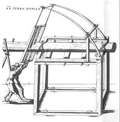 Fausto Veranzio 1615.  A pitsaw with no tiller man!  These dudes ought to be wearing hardhats in case they pull too hard.