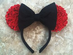 Handmade floral ears Deep red flowers Black lace bow One size fits all