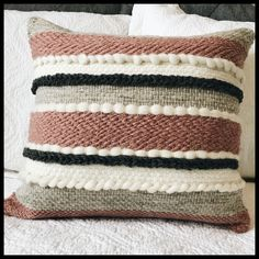 Handwoven front of pillow in wool, cotton/linen on back, zippered for insert. 17 to outside edges. For custom orders contact seller. Shipping outside of Canada will be without insert. Wool Pillows, Diy Pillows, Decorative Pillows, Throw Pillows, Weaving Textiles, Weaving Patterns, Tapestry Weaving, Weaving Loom Diy, Hand Weaving