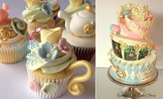 Mad Hatter tea party cupcakes by Sophia Mya Cupcakes and cake by Rooney Girl Bakeshop
