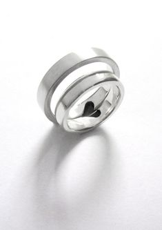 Sterling silver set of rings with half a by ChristyAnneJewellery, $89.00