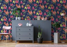 Punica by Albany - Navy - Wallpaper : Wallpaper Direct Home Depot Wallpaper, Navy Wallpaper, Theme Nature, Piece A Vivre, Colored Highlights, Tropical Flowers, Designer Wallpaper, Wall Colors, Decoration