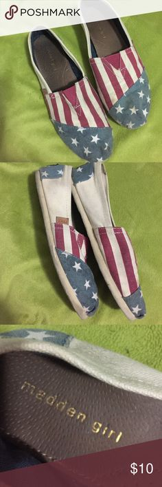 Madden Girl Women's Canvas 4th of July Shoes These are fun patriotic slip on shoes. They are red white and blue with Stars and Stripes! They are super comfortable and cute! They are in great very lightly worn condition and ready to go have fun. Madden Girl Shoes Flats & Loafers