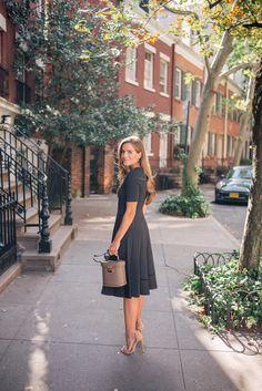 Gal Meets Glam Signs Of Fall In NYC - A.L.C. dress, Stuart Weitzman heels, Mark Cross bag & Ray Ban sunglasses