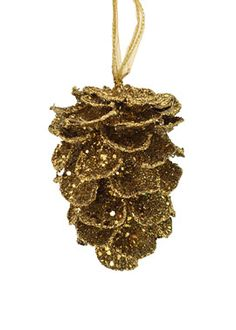 "5 3/4"" Antique Gold Pine Cone Ornament $9"