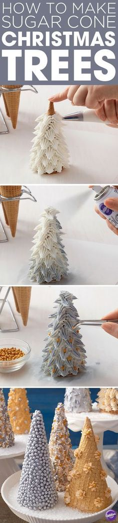 How to Make Sugar Cone Christmas Trees - Learn how to make these metallic sugar cone Christmas Trees that will surely dazzle your guests! They can also be fun to handout as gifts.