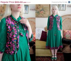 ON SALE Green Indian Biba Kurta Kurti Cotton Shirt Dress with Fuchsia Pink Waistcoat Vest Bohemian Festival Hippie Ethnic