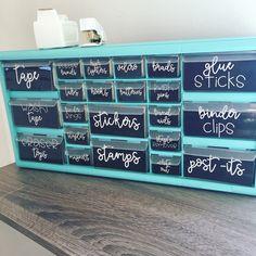 Aqua teacher toolbox with black labels