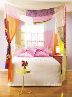 Create a simple canopy using scrap fabric to give your little one's room a little extra flair.