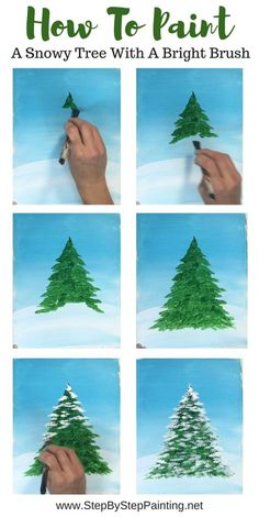 Canvas Painting Tutorials, Acrylic Painting Techniques, Diy Painting, Painting Trees, Winter Painting, Winter Art, Drawing Techniques, Christmas Paintings On Canvas, Christmas Canvas
