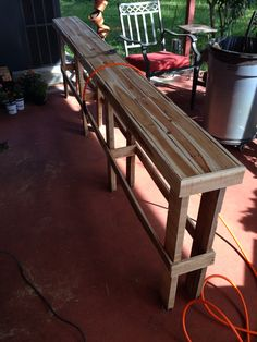 First pallet project. Behind the couch table. Goes between wall and couch. This is ruff sanded before staining.