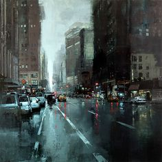 "JEREMY MANN, American (b. graduated from Ohio University with a Cum Laude degree in Fine Art-Painting. ""Rain New York"" Monet, Neon Licht, Ville New York, Art Graphique, City Art, City Streets, Urban Landscape, American Artists, Urban Art"