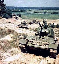 A column of Soviet T-34 tanks. -