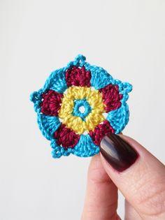 Crochet Mandala Small Tiny Crochet Mandala by CrochetPocket Crochet Mandala, Crochet Flowers, Craft Corner, Stitch, Yellow, Coasters, Crafts, Handmade, Diy