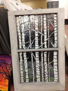 Birch tree Stained glass Mosaic on reclaimed window. additional detail ground into glass. More pictures to come