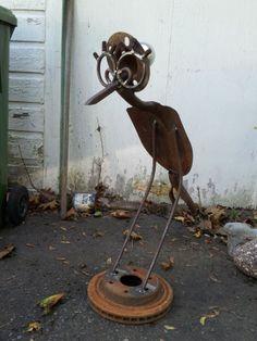 girl shovel bird good stand for yard art