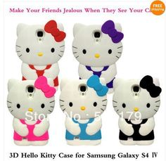 3D Hello Kitty Silicone Soft Cover Case for Samsung I9500 GALAXY S4 Free shipping 10pcs/lot $26.99