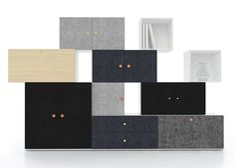 Front designs Tetris storage system made of stacking blocks